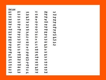 Thanksgiving CVC Word Bingo