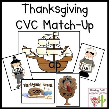 Thanksgiving CVC Word Match Up