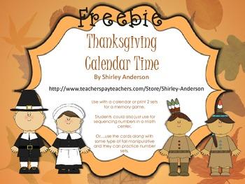 Thanksgiving Calendar Time (November-Freebie)