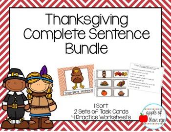 Thanksgiving Complete Sentence Bundle