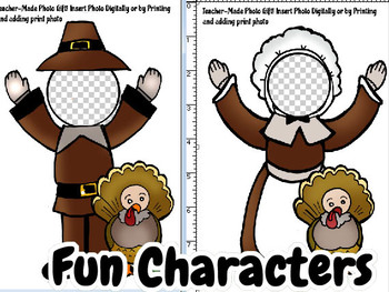 Thanksgiving Card Kit- Text, Pictures, and INSTANT Pilgrim Characters!