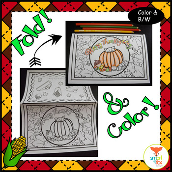 Thanksgiving Cards Foldable Craft and Coloring Printable