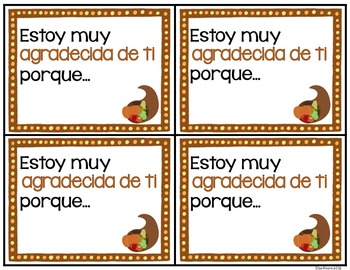 Thanksgiving Cards for Students: English and Spanish