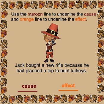 Thanksgiving Cause and Effect Smartboard Language Arts Lesson