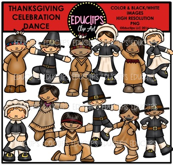 Thanksgiving Celebration Dance Clip Art Bundle {Educlips Clipart}
