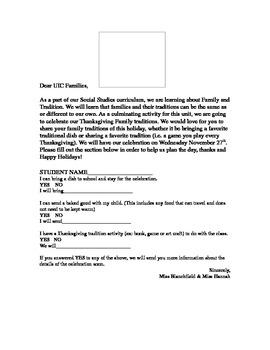 Thanksgiving Celebration Letter