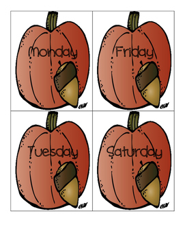 Thanksgiving Center Activity - Days of the Week - Easy Prep