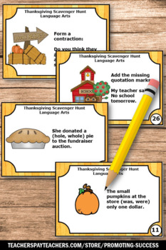 Thanksgiving Literacy Centers, Language Arts Task Cards, Thanksgiving Games
