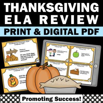 Thanksgiving Grammar ELA Literacy Centers Language Games &