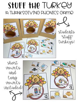 Thanksgiving Center - Stuff the Turkey {A Phonics Game}