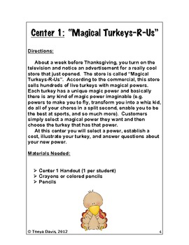 """Thanksgiving Centers:  Grades 4-6 For a """"Gobble, Gobble"""" Good Time"""