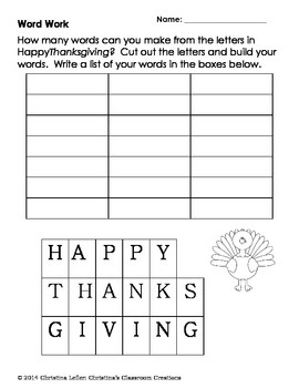 Thanksgiving Centers: Math, Literacy and Art Activities