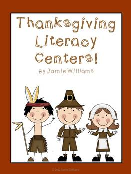 Thanksgiving Centers: comprehension card game, abc order, nouns, and verbs