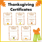 Thanksgiving Certificates For Students