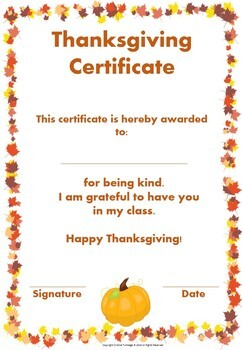 Thanksgiving Certificates and Gift Tags Bundle