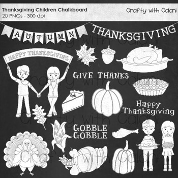 Thanksgiving Chalkboard Clipart, Thanksgiving Children Chalkboard Clipart,