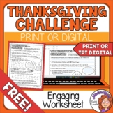 Thanksgiving Challenge! Free Scavenger Hunt Type Activity
