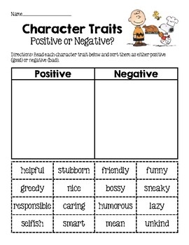 Thanksgiving Character Trait Sorts