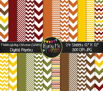 Thanksgiving Chevron on White Digital Papers {Commercial Use Digital Graphics}