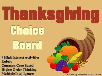 Thanksgiving Choice Board Holiday Activities Project Menu Rubric Tic Tac Toe