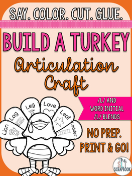 Thanksgiving/Christmas Articulation Craft- No Prep- l and l blends