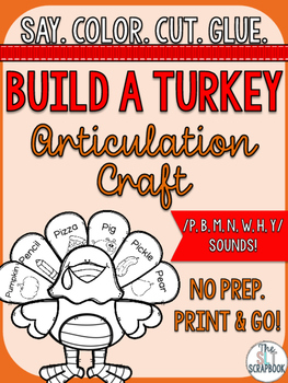 Thanksgiving/Christmas Articulation Craft - No Prep- p b m n w h y sounds