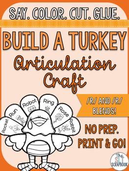 Thanksgiving/Christmas Articulation Craft- No prep- r and r blends