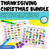 Thanksgiving Christmas Articulation Roll Say Color Bundle Pack - Speech Therapy
