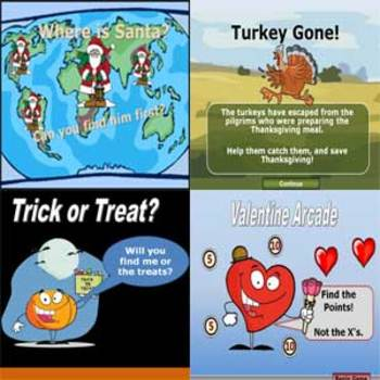 Holiday PowerPoint 4 Game Pack - Christmas-Thanksgiving-Halloween-Valentines