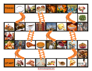 Thanksgiving Chutes and Ladders Board Game