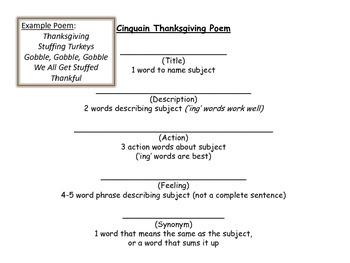 Thanksgiving Cinquain Poem Templates by The Bookworm Boutique | TpT