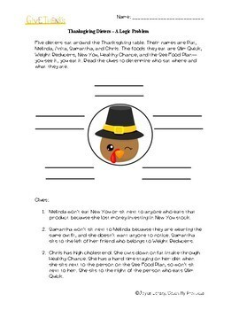 Thanksgiving Logic Puzzle : Circle Logic For Intellectually Gifted Students