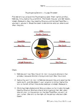 Thanksgiving Logic Puzzle Challenging