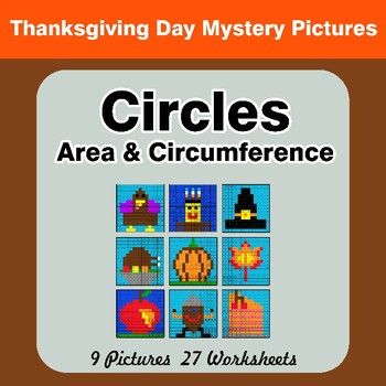 Thanksgiving: Circles Area & Circumference - Math Mystery Pictures