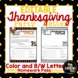 Editable Thanksgiving Class Party Letter