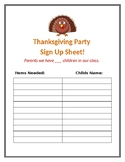 Thanksgiving Class Party Sign Up Sheet