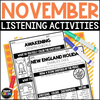 Thanksgiving Activities! Music Listening Sheets, Autumn, November