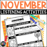 Hello, November Listening Sheets - Thanksgiving Activities, Autumn, Copland