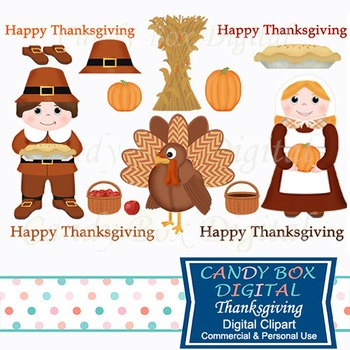 Thanksgiving Pilgrim and Turkey Clip Art