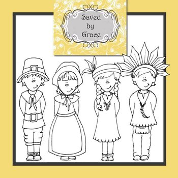 Thanksgiving Clip Art - 4 B&W images Pilgrim and Native American children