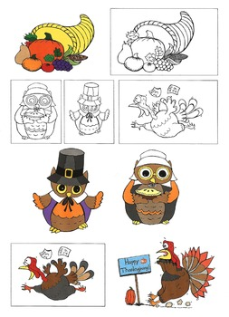 Thanksgiving Clip Art and Coloring Pages: Nervous Turkey, Pilgrim Owls