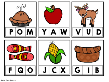 Thanksgiving Clip Cards for Beginning Sounds
