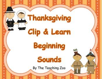 Thanksgiving Clip & Learn Beginning Sounds
