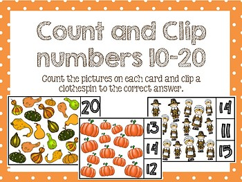 Thanksgiving Clip and Count Numbers 10-20 Activity