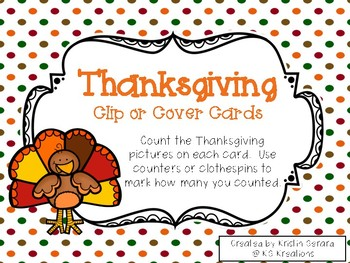 Thanksgiving Clip or Cover Counting Cards