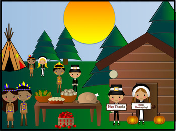 Thanksgiving Clipart (42 Pieces) - Pilgrims, Native American, Mayflower, Food