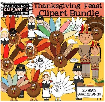 Thanksgiving Clipart Bundle - Pilgrims, Turkeys, & Indians