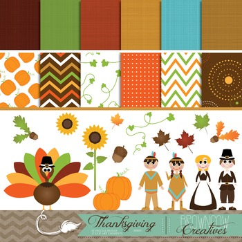 Thanksgiving Clipart & Digital Paper BUNDLE!