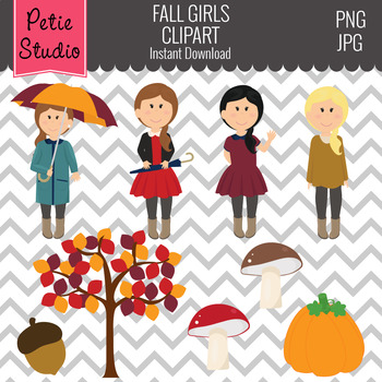 Thanksgiving Clipart, Fall Clipart, Girls with Leaves and Pumpkins - Fall135
