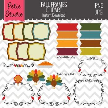 Thanksgiving Clipart // Fall Digital Ribbons // Autumn Digital Frames - Fall114